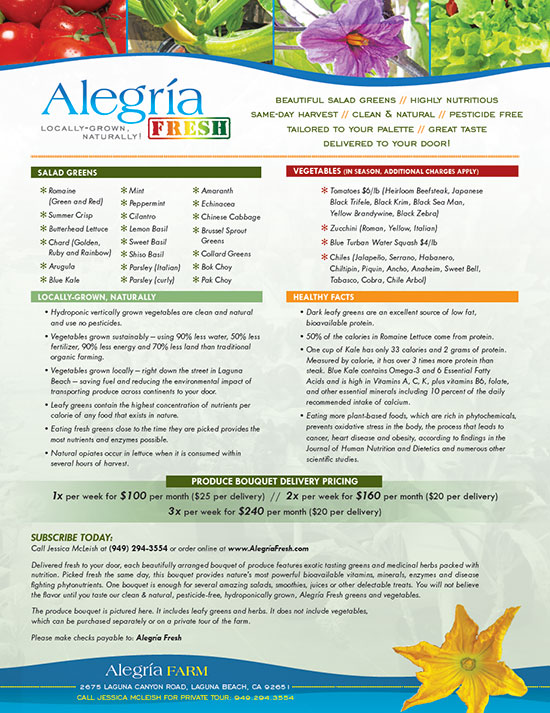 Alegria Fresh Information Flyer